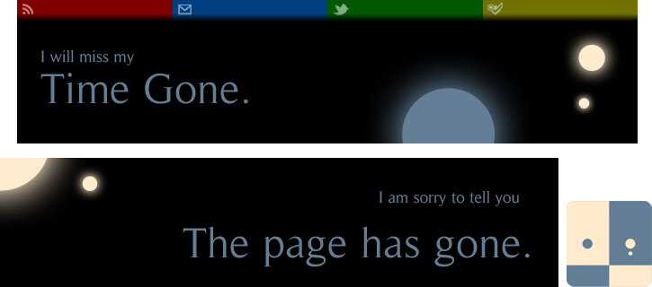 TimeGone header, 404, avatar (2012)